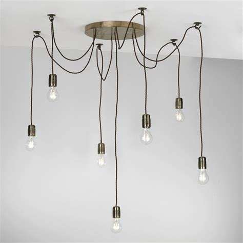 Solar Tea Lights Rustic 7 Light Ceiling Pendant Cluster In Bronze With