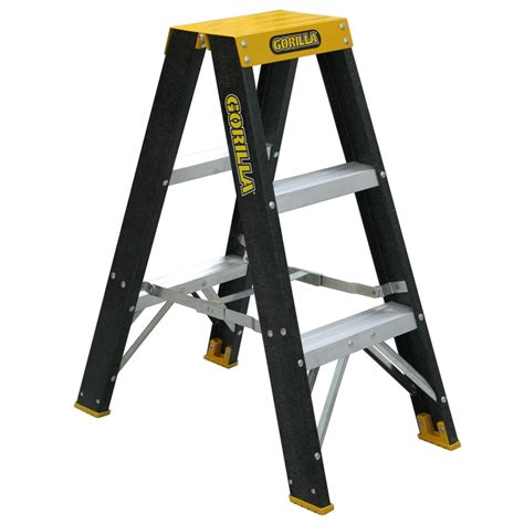 safety step stool bunnings gorilla 0 9m 120kg sided fibreglass step ladder