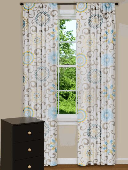 Yellow And Blue Window Valances Modern Floral Curtain Panels Drapes Spa Blue Yellow