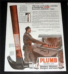 1920 magazine print ad plumb hammers