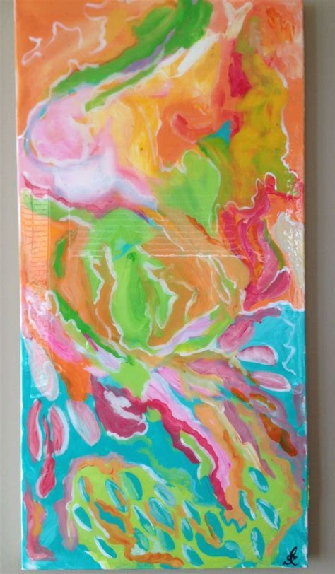 acrylic painting gloss original acrylic abstract painting 15 quot x 30 quot with high