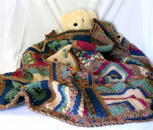 Crocheted granny square afghan lap throw brown beige red green blue