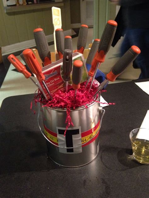 Honey do shower center piece Paint bucket and tools Great