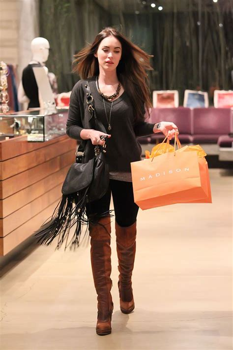 megan fox in knee boots shopping at hawtcelebs