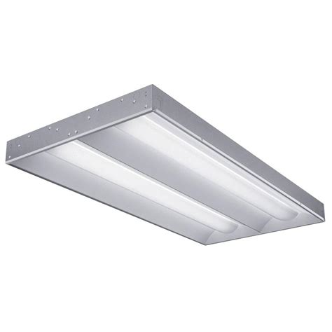2 By 4 Light Fixtures Lithonia Lighting 2 Ft X 4 Ft Rt5 2 Light Led Volumetric White Fluorescent Troffer 2rt5