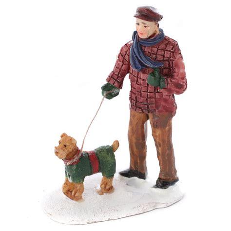 miniature boy and dog christmas figurine christmas