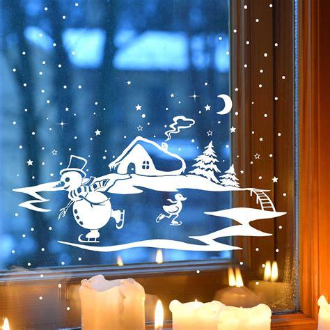 Fensterdeko Weihnachten Winter by Fensterbild Fensterdeko Winter Mit Schneemann Ente Und