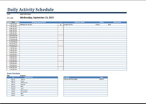 ms word daily activities schedule form template word