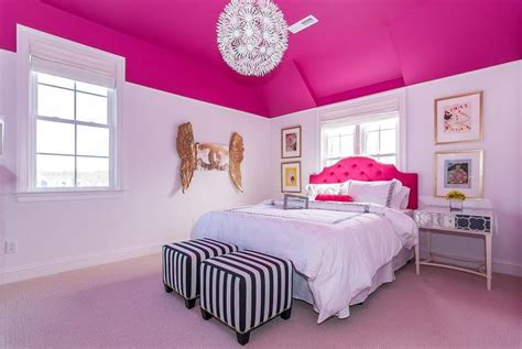 pink and white girl bedroom kid headboard in front of window design ideas