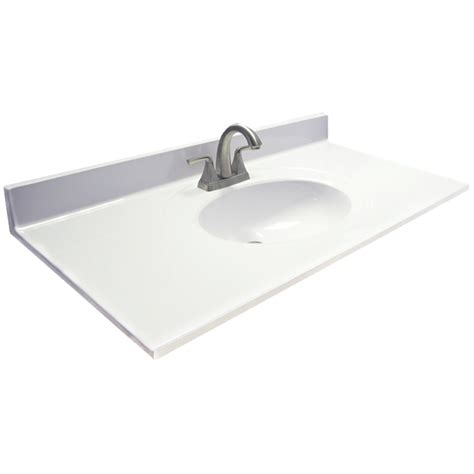 Single Sink Vanity Top by Shop Us Marble Ambassador White On White Cultured Marble