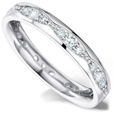 Wedding Ring Wave Design by Grain Set Wedding Ring With A Wave Design
