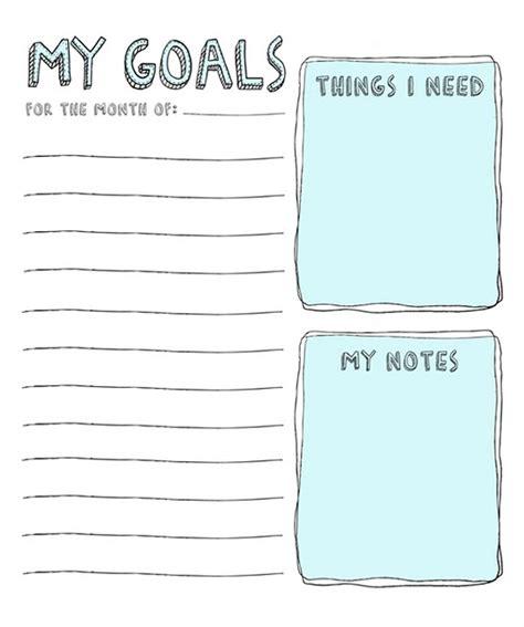 goals list template 2016 goal setting printable calendar template 2016