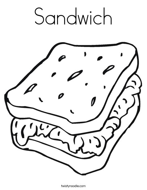 Sandwich Coloring Pages sandwich coloring page twisty noodle