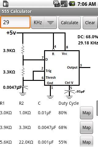 resistor calculator for 555 timer 555 timer calculator ne555 android market
