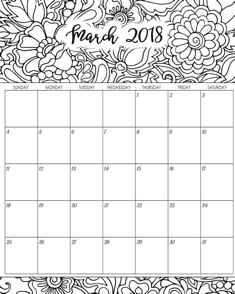 printable planner calendar 2018 free 5 march 2018 calendar printable template source