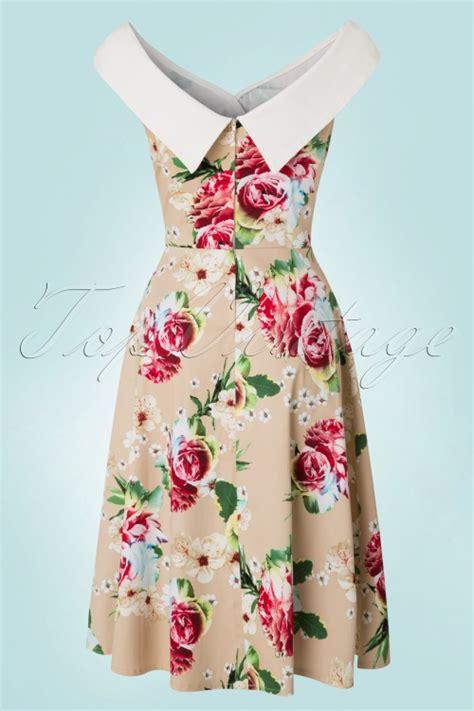 beige swing dress 50s madeline floral swing dress in beige
