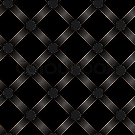 Victorian Style Home Decor Seamless Black Ribbon And Gold Strip Pattern Stock Photo
