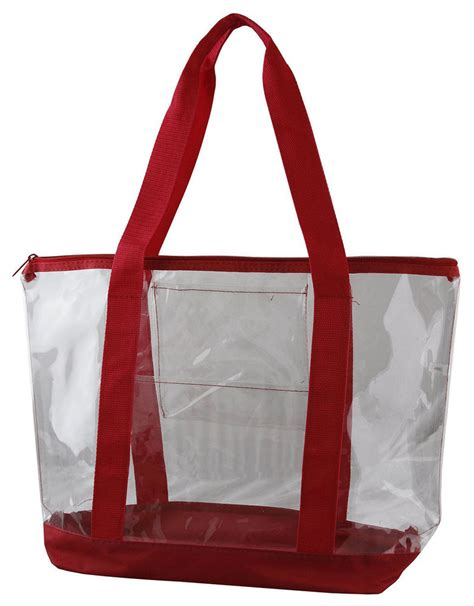 large clear tote bag with zipper closure transparent