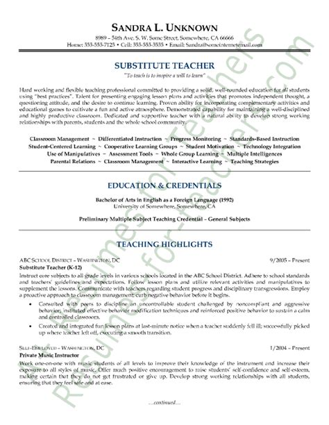 substitute resume sle substitute description for resume sales