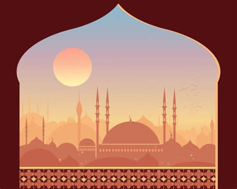 Mosque night backgrounds vector 05   Vector Background