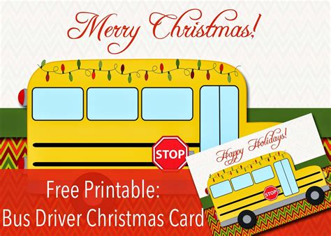 bus card template free printable bus driver christmas or happy holidays