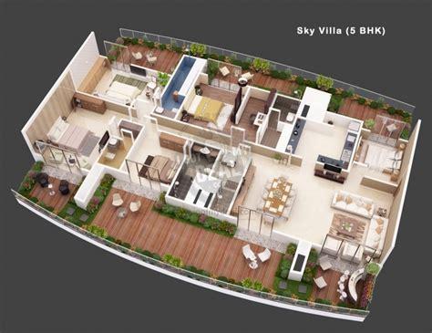 Duplex Floor Plans With 2 Car Garage Villa 5 3d House Plans Amp Floor Plans Pinterest