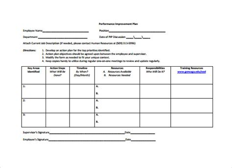 employee plan template sle employee plan 12 documents in pdf