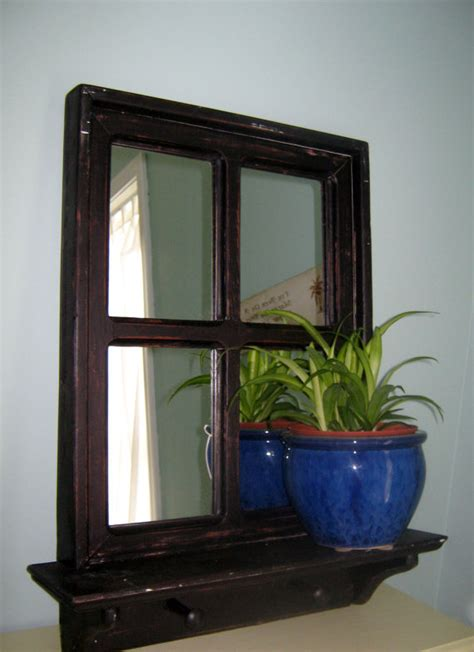shabby chic mirrored black mirror window by