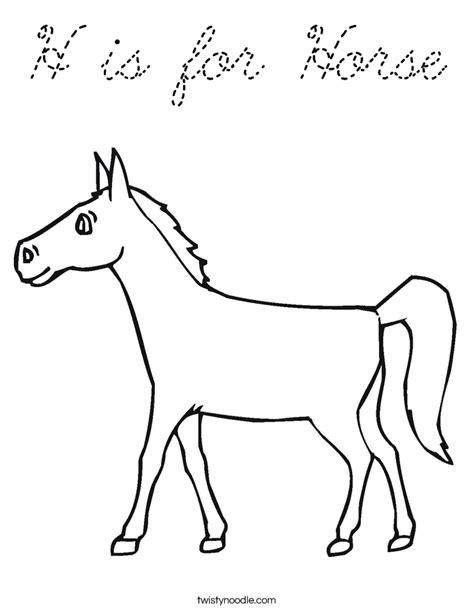 h is for horse coloring page cursive twisty noodle
