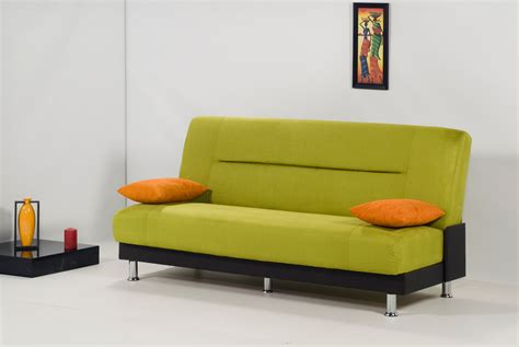 Rectangular Green Sofa Bed With Back And Orange Cushions Sofas And Sofa Beds