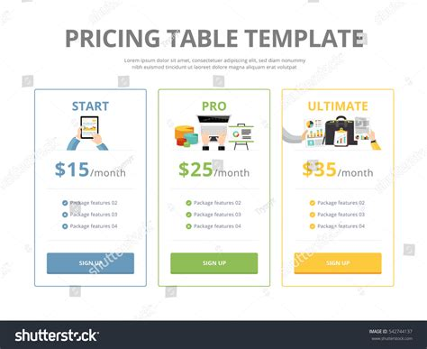 pricing table template pricing table template three plan type stock vector