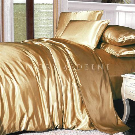 luxury soft silk feel gold satin queen size doona duvet