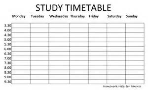 Blank Revision Timetable Template by Blank Study Timetable Calendar Template 2016