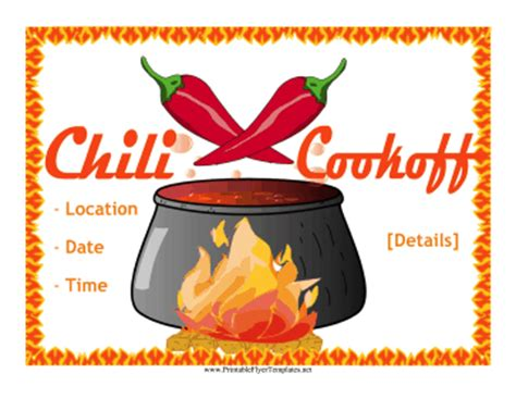 chili cook flyer template chili cook flyer