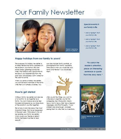 family newsletter template family newsletter template best template idea
