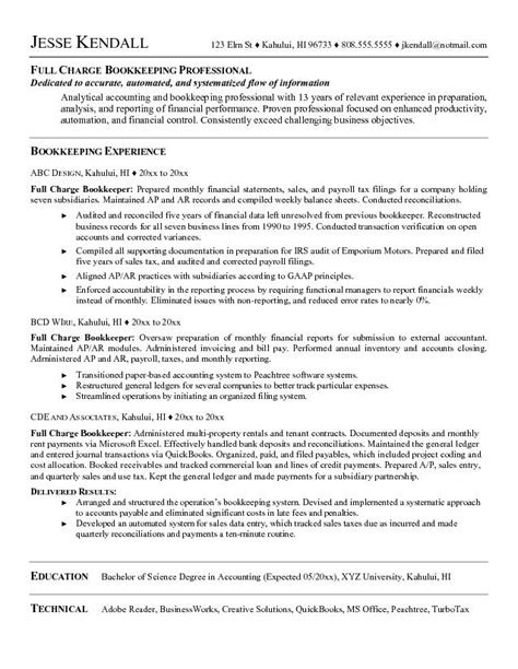 Bookkeeper Resume by Charge Bookkeeper Resume Best Resume Gallery
