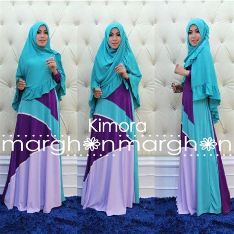 Kimora Dress Gamis Katun kimora biru ungu baju muslim gamis modern