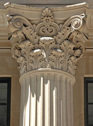 pattern leafy columns corinthian capital with stylised acanthus leaf motif