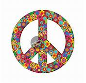 Brown Floral Peace Sign Decal  Colorful Flower Car
