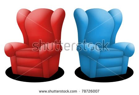 recline opposite couches in red and blue facing opposite each other stock