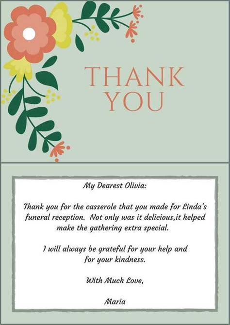 Thank You Note For Donation In Honor Of Someone 33 Best Funeral Thank You Cards