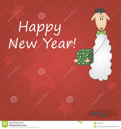 new year wishes sheep year postcard happy new year 2015 stock vector image 43824619