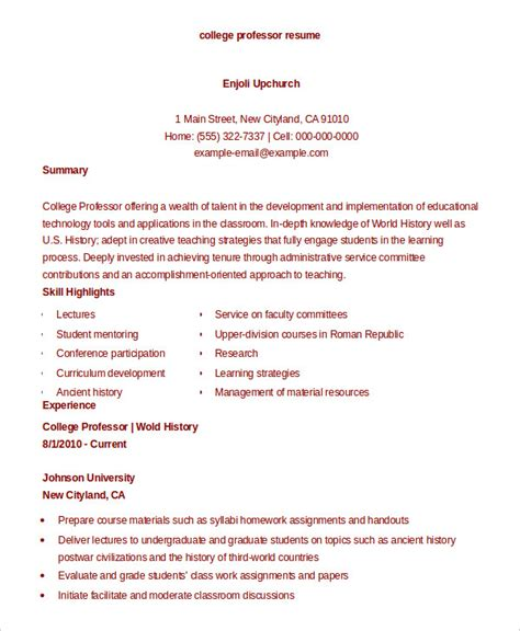 Professor Resume by College Resume 9 Free Sle Exle Format Free