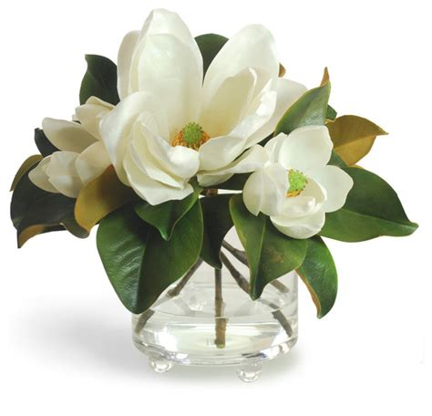 Faux Books For Decoration Magnolia In Footed Glass White Flower Arrangement