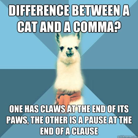 Comma Meme - difference between a cat and a comma one has claws at the