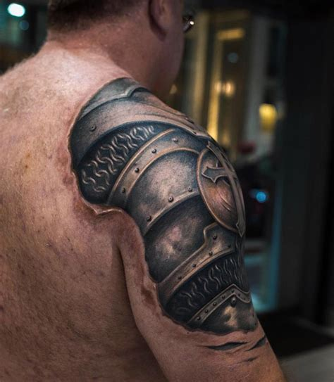 tattoo 3d armor armor on guy s shoulder best tattoo design ideas