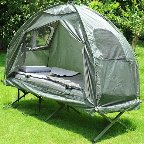 outdoor 1 person folding tent elevated cing cot w air mattress sleeping bag 764931589897 ebay