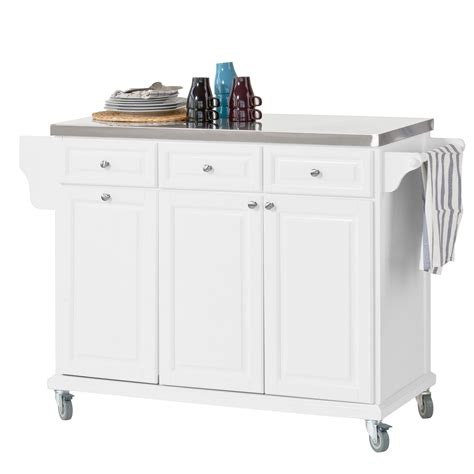 kitchen island trolleys sobuy 174 fkw33 w luxury kitchen trolley with large storage