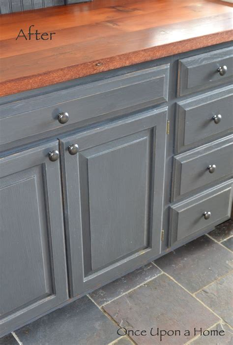 painting wood cabinets grey once upon a home painted cabinets slate floor and barn