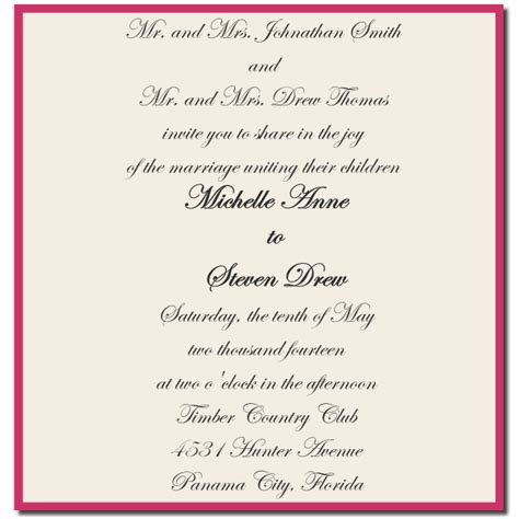 Wedding Blessing By Parents by Wedding Invitation Wording Both Parents Design